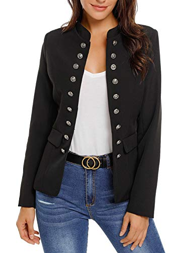 Maolijer Women's Open Front Buttons Work Office Blazer Casual Cardigan Business Jacket Suit with Pockets Black Small