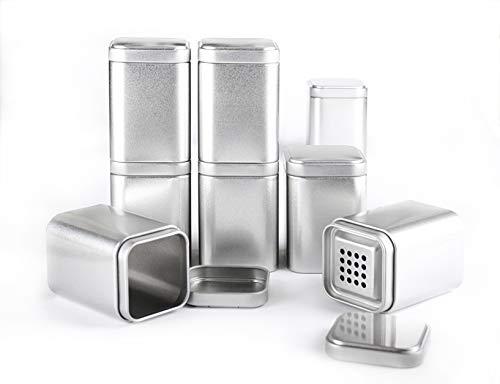 Spicebar Gewürzküche 8 Gewürzdosen mit Aromadeckel + 8 Etiketten + 4 Streueinsätze, Maße: 8x6x6 cm