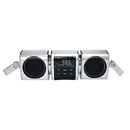 KKmoon Motorrad MP3 Musik Player BT Lautsprecher FM Radio Wasserdicht Verstellbare Halterung LED Display Stereo Audio Player Silber