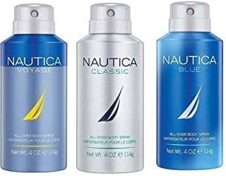 Nautica Classic, Voyage and Blue Deodorizing Body Spray for Him (Pack of 3)