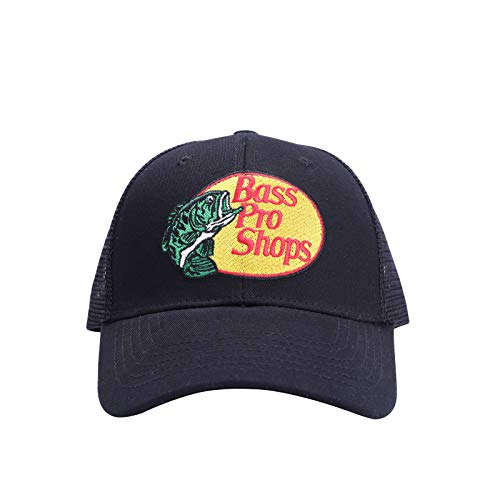 Bass Pro Shop Hüte für Herren und Damen, verstellbare Netzmütze, für Väter, Angeln, Trucker, Baseballkappe für Laufen, Outdoor-Aktivitäten, schwarz