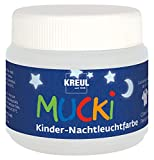 Kreul 24500 - Mucki Kinder Nachtleuchtfarbe, 150 ml Dose, auswaschbare Kindereffektfarbe auf Wasserbasis, parabenfrei, glutenfrei, laktosefrei, vegan, mit Fingern, Pinsel und Spachtel auftragbar