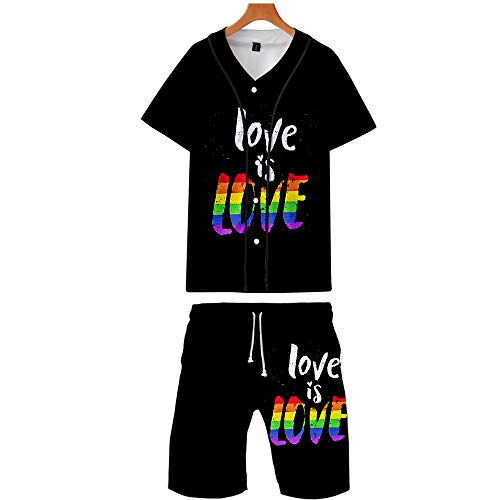 LGBTQ Cotton T-Shirt and Shorts Lesbian Gay Bisexual Transgender Rainbow Pride Color Women Men Outfit for Summer