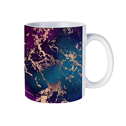 N\A Moody Marble Decor Luxe Deep Purple Teal Gold 11 oz Divertidas Tazas de café, Tazas de té y Tazas de café, Regalos inspiradores y Sarcasmo