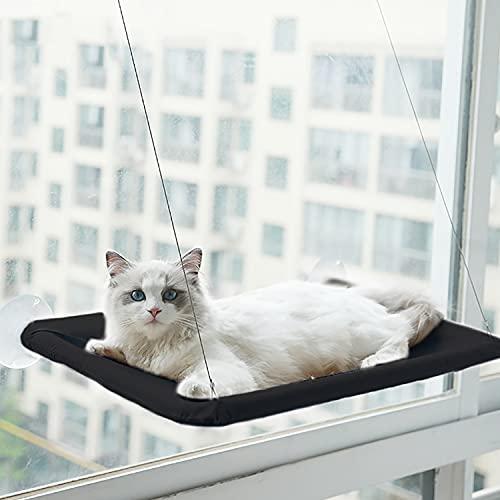 HENGBIRD Fenster Katzenhängematte mit Leistungsstarker Saugnapf, Katzenliegestuhl Saugnapf Katzenhängematte, Haustierhängematte abnehmbar und leicht zu reinigen, Katzenliege Fenster Platz