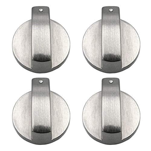 Gas Herd Steuer Knöpfe(4 Stück),Universal Zink Legierung 8mm Achse rund Gasherd Knöpfe Ofen Herd Control Switch(2) (4 cmx8 mm)