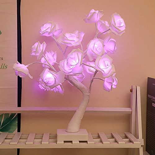 HUIKJI Lámpara de mesa con diseño de rosas, árbol de hadas, para mamá, niñas, adolescentes, día de la madre, dormitorio, boda, festival, día de San Valentín, decoración de color morado