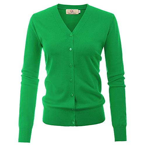 Button Up Cardigan for Women V-Neck Knit Cardigan(L,Green)