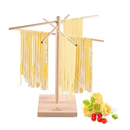 iSiLER Natural Beech Wood Pasta Drying Rack, Pasta and Spaghetti Dryer Stand with 4 Branched, Detachable Arms for up to 4 Pounds of Pasta Dough