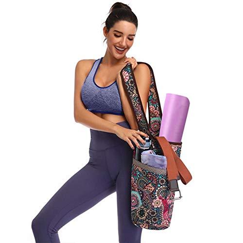 Riosupply Bolsa de Lona para Esterilla de Yoga, Estilo Casual, con Bolsillo Grande con Cremallera, para la mayoría de tamaños de esterillas de Yoga
