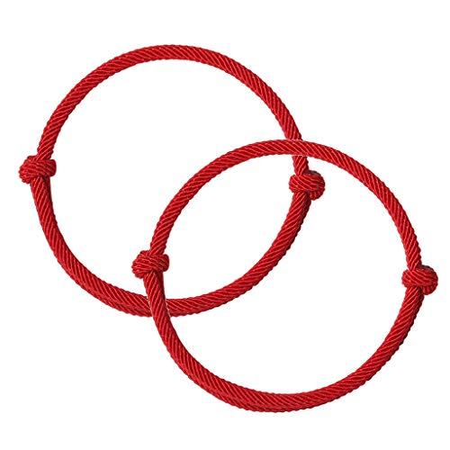 angwang Pulseiras de corda vermelha, 2 peças de pulseiras vermelhas da amizade do destino, proteção de cabalá, boa sorte, simples combinando, pulseiras para amantes, mulheres, homens, vermelhas