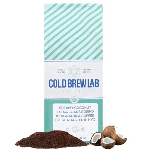 Cold Brew Organic Coarse Ground Flavored Coffee, Coconut Flavor, Dark Roast, Colombian Supremo, Coarse Grind for Cold Brew Coffee & French Press,1 LB