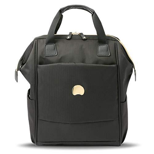 DELSEY Paris Montrouge Rucksack schwarz-gold mit gepolstertem Laptopfach, 40 cm, 25 L, schwarz