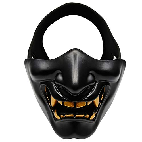Viesky Halve Gezicht Masker Cosplay Kabuki Samurai Duivel Halloween Feestfeest Prom COS Duivel Horror Gezicht