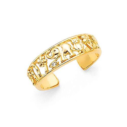 Bague porte-bonheur en or jaune 14 carats - Cadeau pour femme