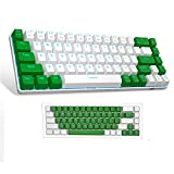 Portable 60% Mechanical Gaming Keyboard, MageGee MK-Box LED Backlit Compact 68 Keys Mini Wired Office Keyboard with Blue Switch for Windows Laptop PC Mac - White/Green