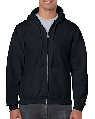 Gildan Men's Fleece Zip Hooded Sweatshirt Black Large