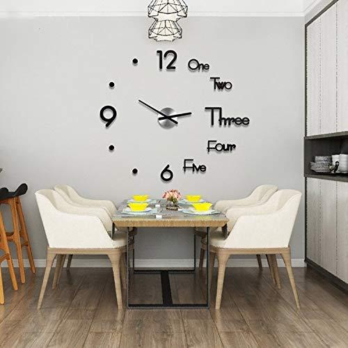 Nieuwste Creatief Ontwerp Acryl Grote Wandklokken Sticker Modern Ontwerp Woonkamer 3D DIY Quartz Horloge Stille Beweging Home Decor, Blad Grootte: Diameter 60 cm (Zwart) Zwart