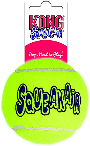 KONG - Squeakair Ball - Einzelball Premium Hundespielzeug, Quietschende Tennisbälle, zahnschonend