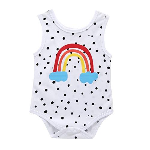Julhold - Pelele Informal de algodón con Estampado de arcoíris, sin Mangas, para bebés de 3 a 24 Meses