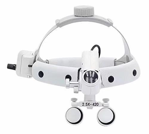 BoNew DY-105 - Diadema de piel con luz LED (5 W, 2,5 x 420 mm), color blanco
