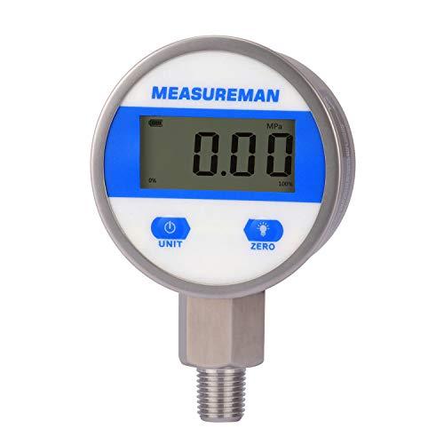 디지털 유압 산업 압력 측정기 2-1 | 2 다이얼 1 | 4NPT 하부 스테인리스 스틸 케이스 및 연결 0-3500PSI | BAR 1% 배터리 전원 LED 조명