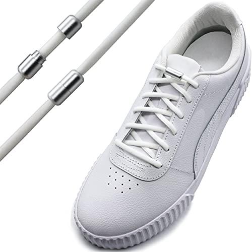 Run out sports Elastische Schnürsenkel ohne binden - schleifenlos - elastisch - Schnellschnürsystem / Schnellverschluss mit Metallkapsel (Weiß - Verschluss matt)