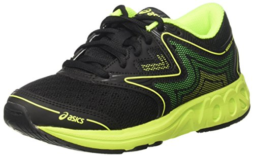 ASICS Unisex-Kinder Noosa Gs Turnschuhe, Schwarz (Black/Safety Yellow/Green Gecko), 40 EU