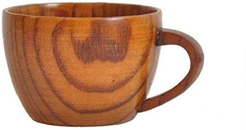 hwljxn 1 stück Holz kaffeetasse handgefertigte Tee Milch Becher Becher handgefertigte hölzerne trinkbecher natürliche Massive hölzerne Tee Tasse Griff