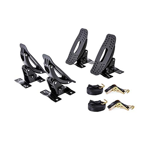 AA-Racks Steel Jetty Saddle Rack for Kayak Carrier Canoe Boat Paddle Board Surfboard Roof Top Mount on Car SUV Truck Crossbar with Ratchet Lashing Straps
