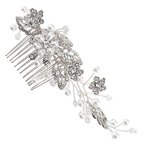 Peineta con perlas para el pelo, clip de plata con flores y...