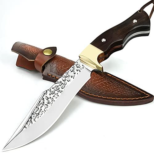 NedFoss Outdoor - Messer mit Leder Holster| Outdoor Survival Messer & fahrtenmesser -besteht aus einem Stück Edelstahl gefertigt| feststehendes Messer mit Holz Griff, Schwarz