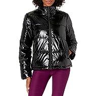 Amazon Brand - Core 10 Women's High Shine Insulated Puffer Full-Zip Boxy Fit Jacket