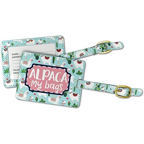 Alpaca My Bags - Etiqueta para equipaje (6 x 4 cm, piel sintética, con hebilla), color azul y verde