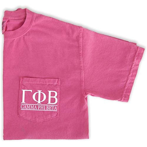 Go Greek Chic Gamma Phi Beta Letters Pocket Tee Sorority Comfort Colors T-Shirt (Medium) Pink