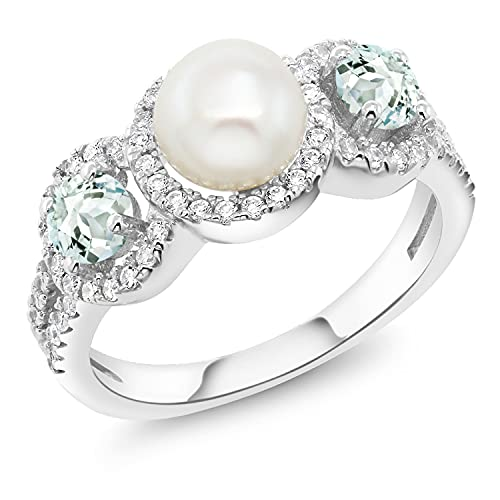 Freshwater Cultured Pearl and Aquamarine Ring by Gem Stone King