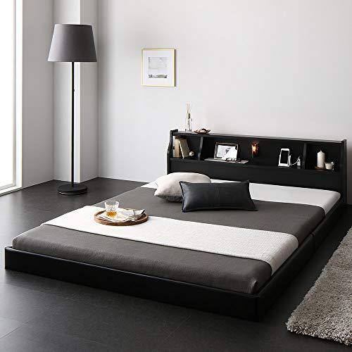 ベッド 日本製 低床 連結 ロータイプ 木製 照明付き 宮付き 棚付き コンセント付き シンプル モダン ブラック シングル 海外製ボンネルコイルマットレス付き