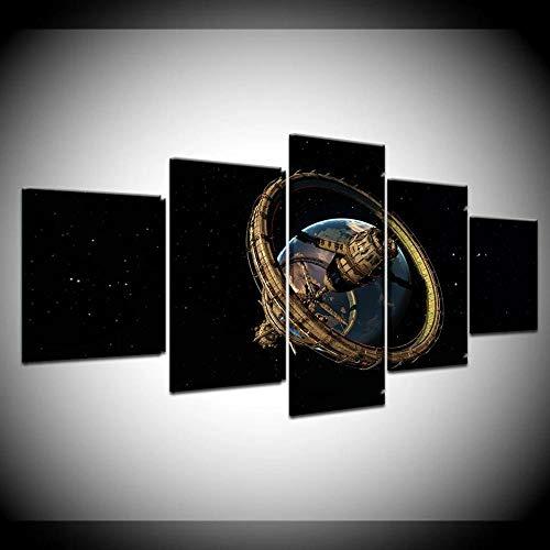 YUXIXI Cuadros Decorativos 5 Piezas Cuadro En Lienzo Decor Modernos Hogar Pasillo Arte Pared Abstracto Impresión Foto De Arte Marco/con Marco/150X80Cm/Paisaje Espacial Satelital