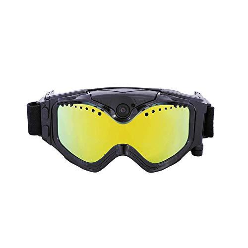 TBYGG 720P HD video snowboard-zonnebril, USB-kabel, 130 graden groothoek, verwisselbare UV400 zonwering ster in kleuren, kleurrijke dubbele anti-condensspiegel, live beeld videobewaking