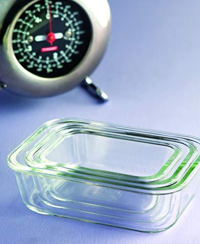 LOCK & LOCK Boroseal Frischhaltedosen aus Glas - 3er Vorratsdosenset - eckig - für Backofen, Mikrowelle & zum Einfrieren - 160 ml, 380 ml, 630 ml