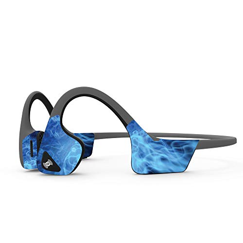MightySkins Skin Compatible with Aftershokz Trekz Air Wireless - Blue Mystic Flames | Protective, Durable, and Unique Vinyl Decal wrap Cover | Easy to Apply, Remove | Made in The USA