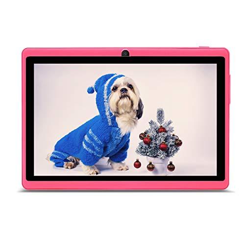 HAEHNE 7' Tablet PC, Google Android 9.0 GMS HD Tablet, 1GB RAM 16GB ROM Quad Core, Cámaras Duales, WiFi, Bluetooth, Rosado