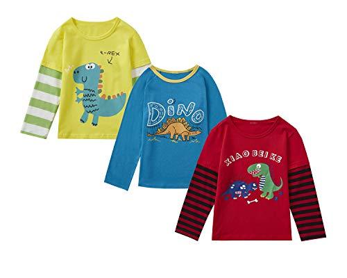 Camisa para niños, 2 piezas de 3 camisetas de cuello redondo rojo, blanco, amarillo y azul, camiseta de 1 a 7 años, rojo, azul, amarillo, (Red, Blue, Yellow), 5 Años