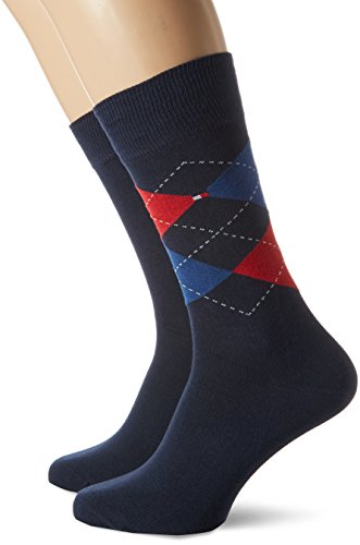 Tommy Hilfiger Herren TH MEN CHECK 2P Socken, Blau (Tommy Original 085), 43-46 (2er Pack)
