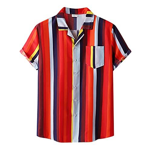 feftops Hombre Camisa Hawaianas Solapa Con Estampado Casual Manga Corta Moda A Rayas De Talla Grande Informal Blusa 2021 Playa de Verano Camisas Transpirable Fresco