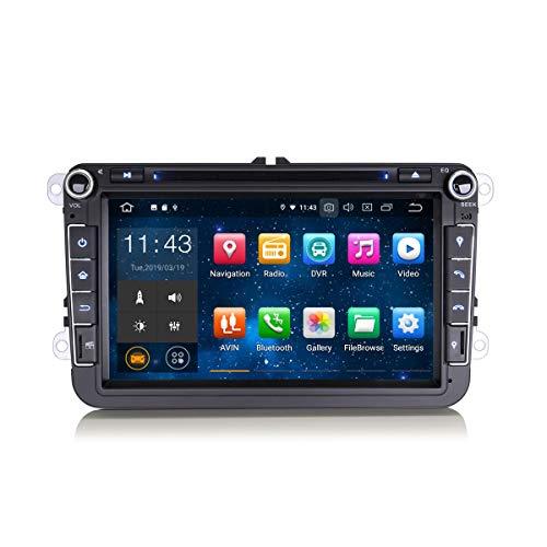 Erisin 8 Zoll Android 9.0 Autoradio für VW Passat Polo Golf Tiguan Touran Beetle DVD Player mit GPS Navi Unterstützt Bluetooth WiFi 4G DAB+ Lenkradfernbedienung RDS Mirror Link OBD