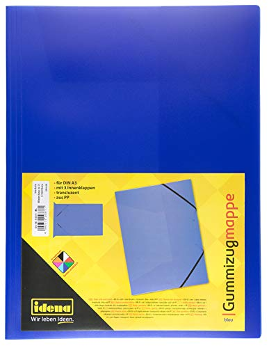 Idena 10377 - Gummizugmappe DIN A3, PP, transluzent blau, 1 Stück