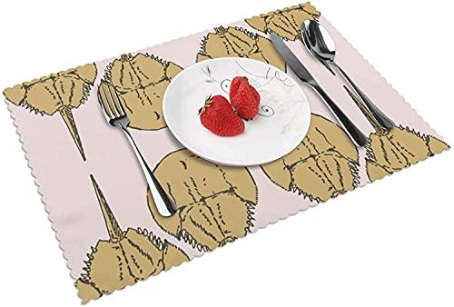 Cangrejos de Herradura en Papel de Regalo Rosa (8185) Juego de 4 manteles Individuales para Mesa de Cocina Manteles Individuales Tejidos para Mesa de Comedor