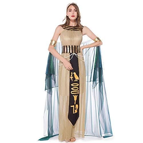 CGBF - Disfraz de Cleopatra para adulto de Egipto Antiguo vestido de princesa egipcia, dorado, L