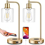 Set of 2 Wireless Charging Industrial Table Lamps Gold 3-Way Touch Control Dimmable Desk Lamp with USB Ports Bedside Lamp with Hanging Seeded Glass Shade for Office Bedroom Living Room, Bulbs Included